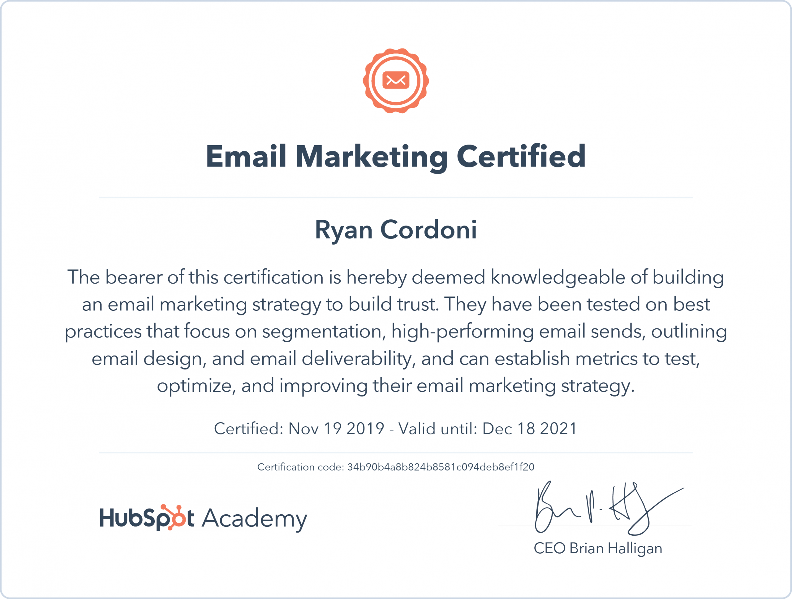 Hubspot Email Marketing Certificate