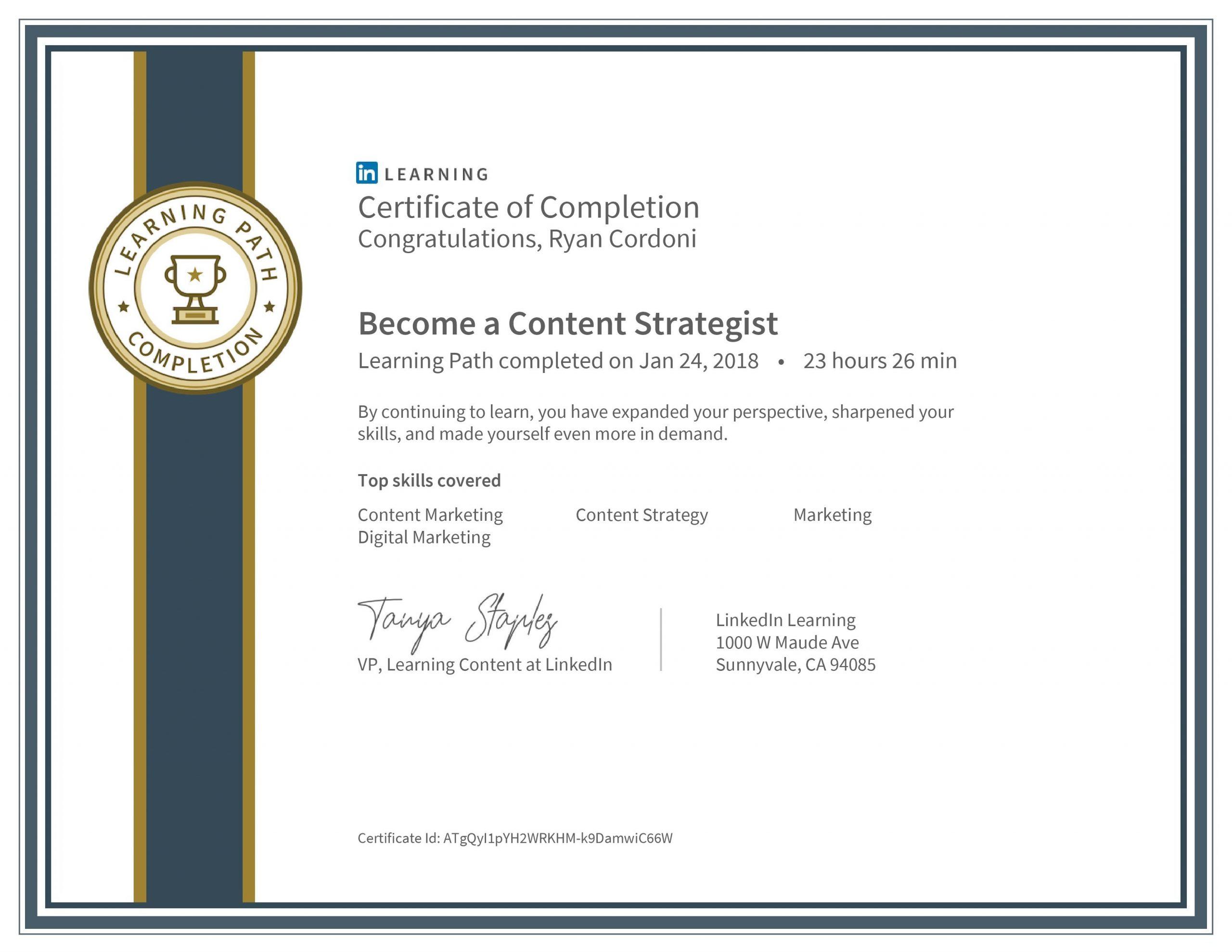 LinkedIn Content Strategist Certificate